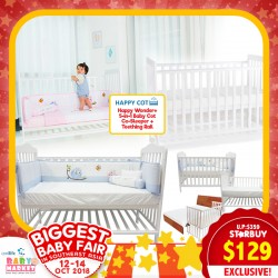 Happy Wonder+ 5-in-1 Baby Cot Co-Sleeper + Teething Rail!! *$99 ONLY For EARLY BIRD SPECIAL!!