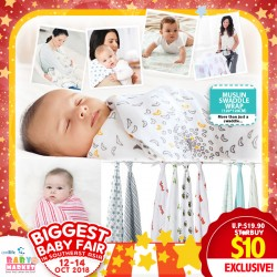 MummyKidz Muslin Swaddler Wrap (120*120cm) (Additional DISCOUNT For EARLY BIRD SPECIAL*)