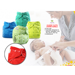Ways Baby Classic Cloth Diaper Bundle ( 4 Cloth Diaper and 8 Micro Fiber Insert) + Free 1pc bamboo handkerchief