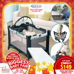 Graco Pack N Play Base Folding Feet Playpen + Free 2 Inch Anti Dustmite Mattress