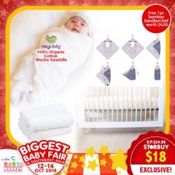 Ways Baby 100% Organic Cotton Muslin Swaddle