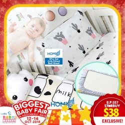 Homie 3pcs set Crib Fitted Bed Sheet (1pc option is available at $12) (Additional DISCOUNT For EARLY BIRD SPECIAL*)