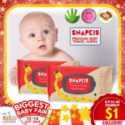 Snapkis THICK + PREMIUM Travel Baby Wipes (20PK)