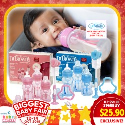 POPULAR! Dr Brown Wide Neck Bottle Gift Set (PINK/BLUE)