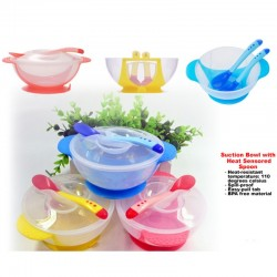 Mumspick Suction Bowl with Cover and Heat Sensored Spoon (Available in Different Colours!!)