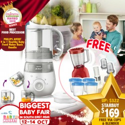 Philips Avent 4-In-1 Healthy Baby Food Maker + Free Blender + Storage Cups