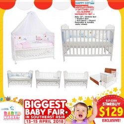 Happy Wonder 5-in-1 Baby Cot Co-Sleeper + Mosquito Net + Teething Rail!! ($99 For EARLY BIRD SPECIAL*)